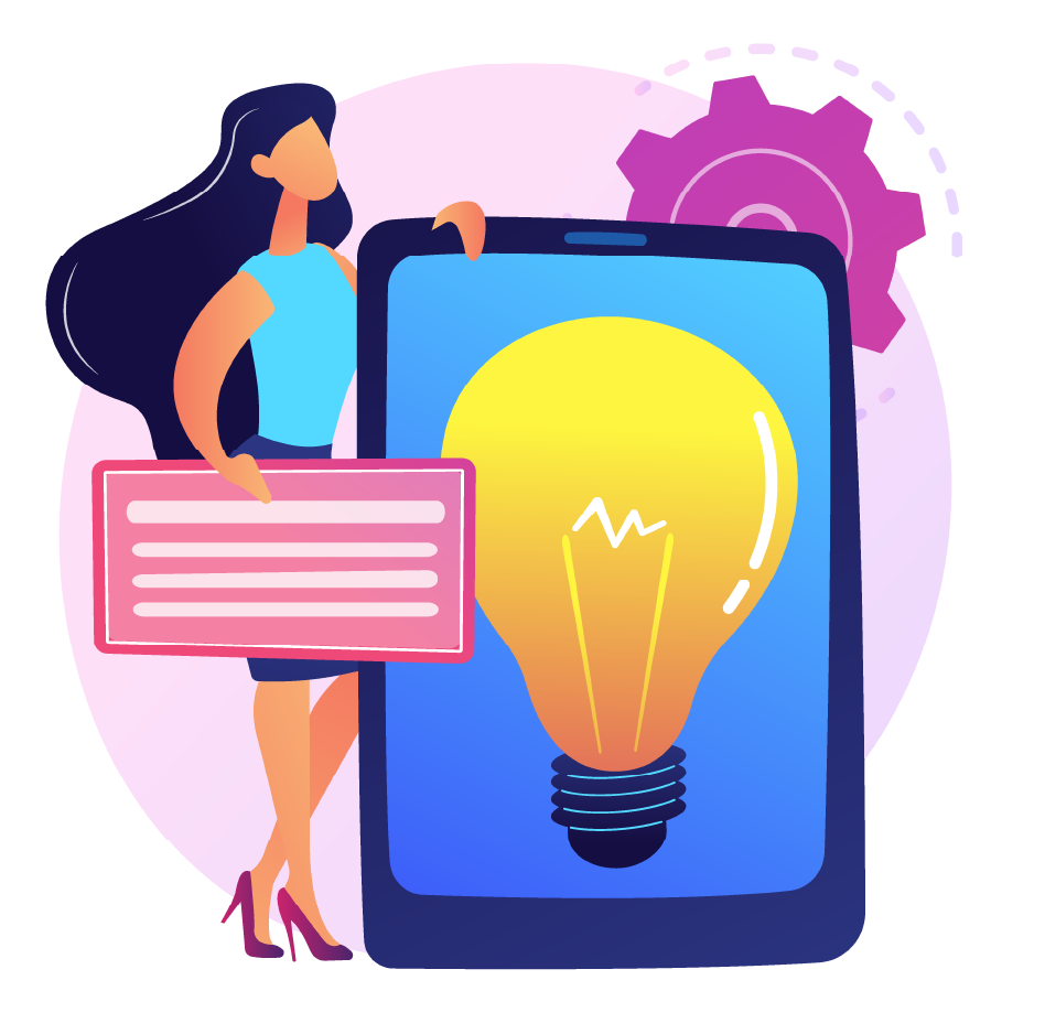 Woman designing mobile site